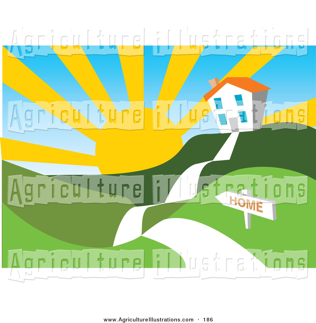 1024x1044 Agriculture Clipart Of A Sun Rising Over A White House In A Hilly