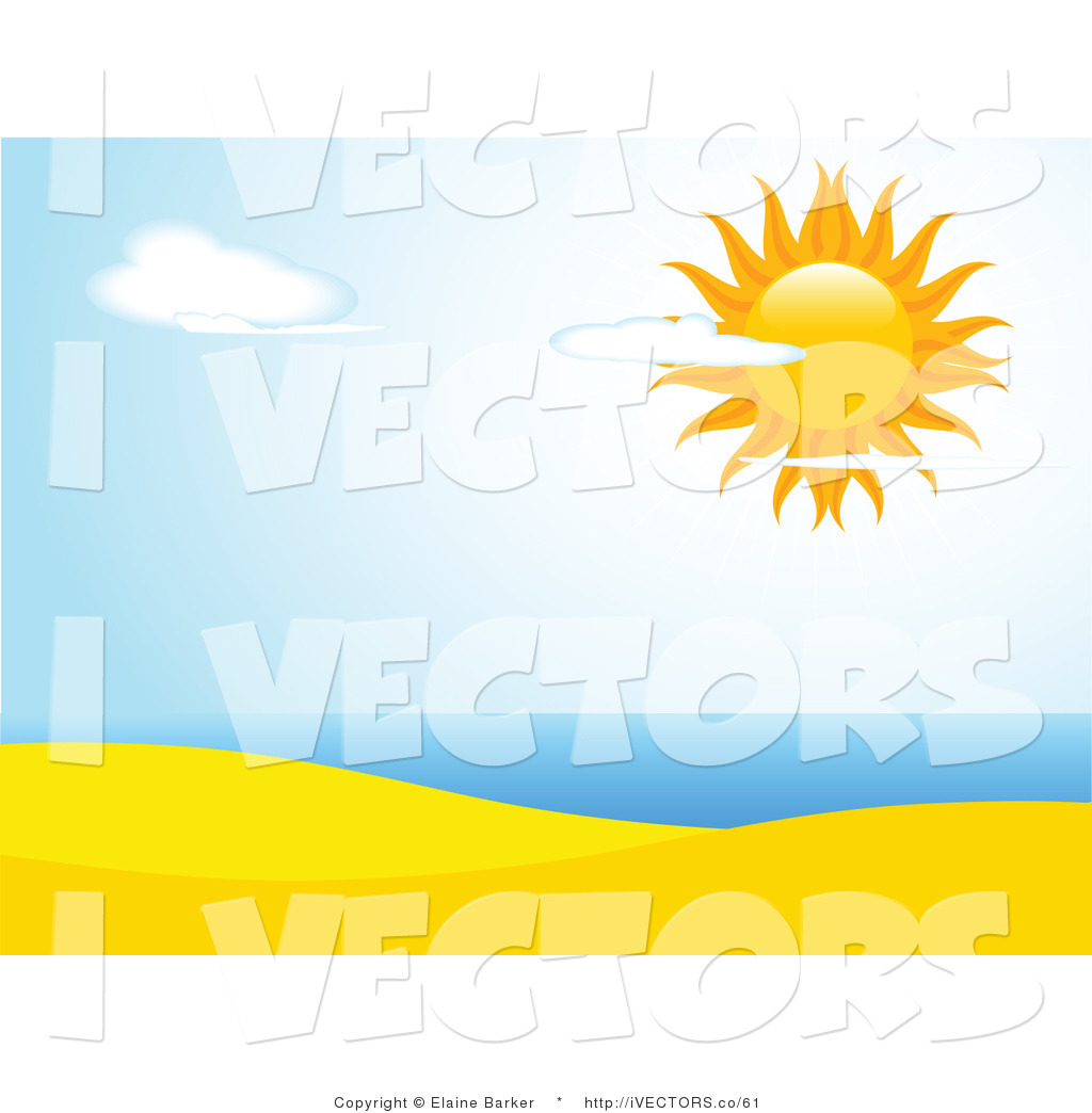 1024x1044 Vector Graphic Of A Summer Sun Shining Brightly In A Partly Cloudy