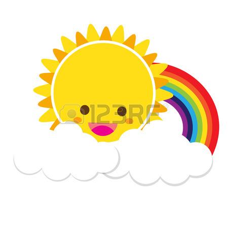 450x450 Doodle Funny Card With Sky, Sun, Rainbow Clouds, Plane