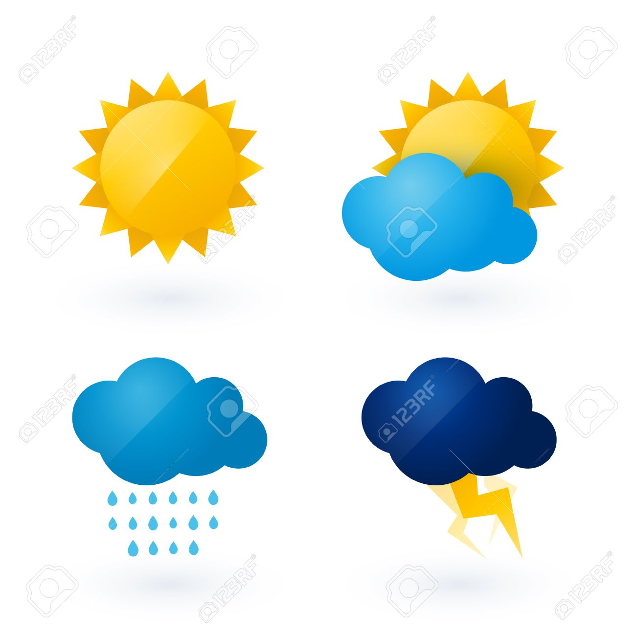 1300x1300 Icons For Weather With Sun And Cloud Motif Royalty Free Cliparts