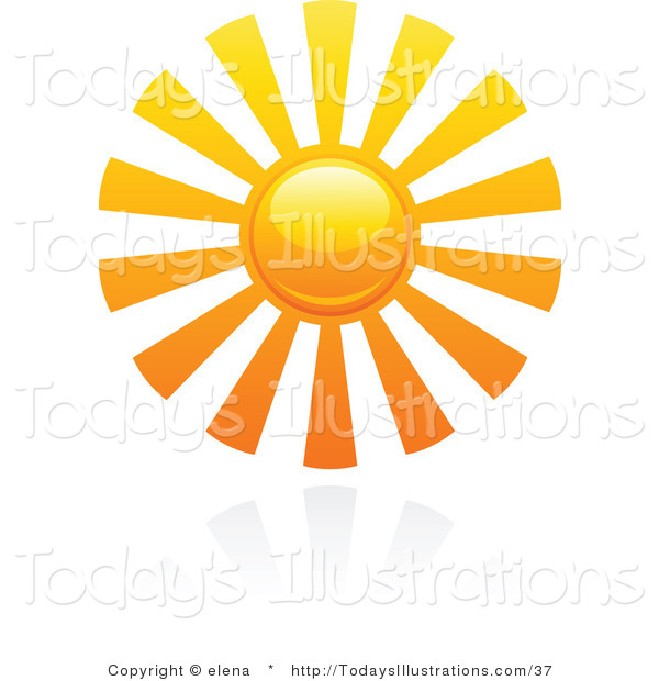 600x620 Clipart Of A Hot Summer Sun With Bar Rays And Reflection By Elena