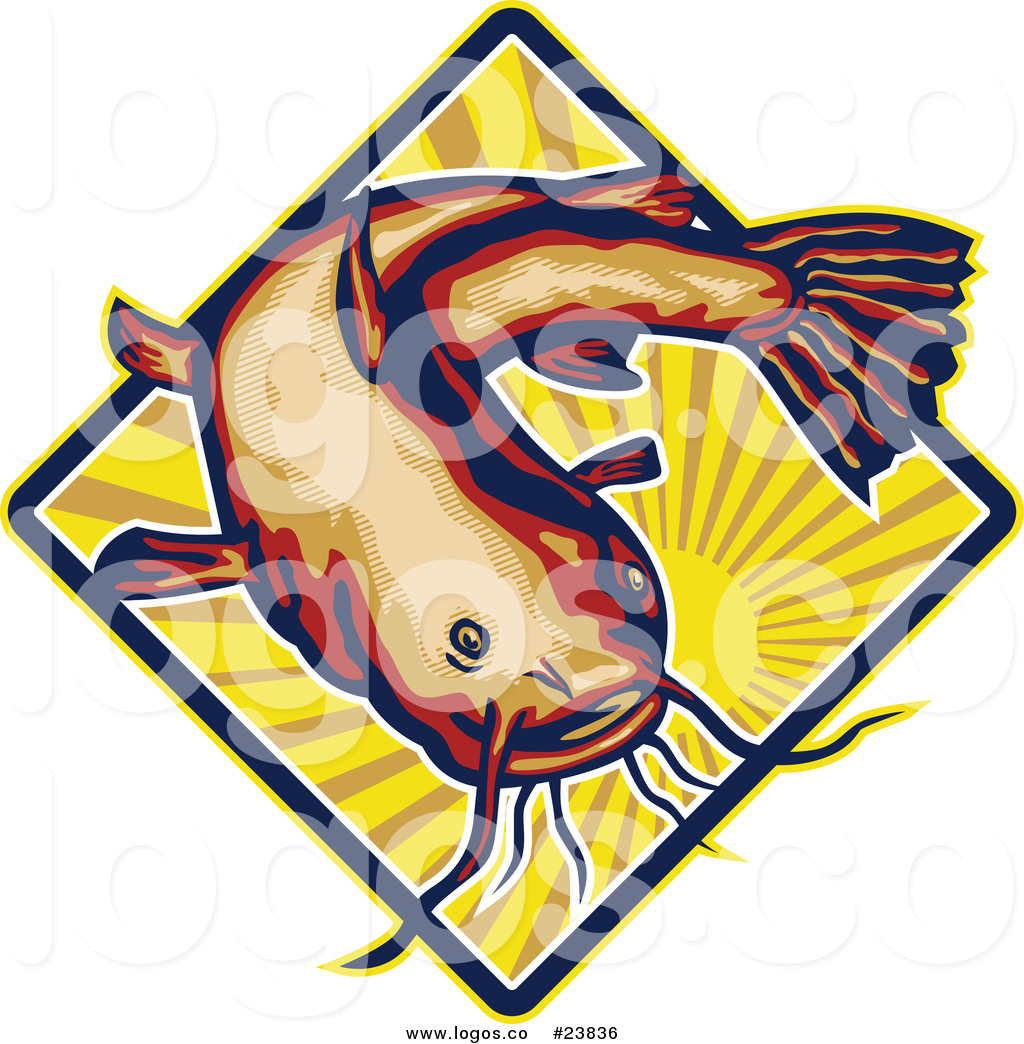 1024x1044 Royalty Free Vector Logo Of A Big Catfish Over A Sun With Rays By