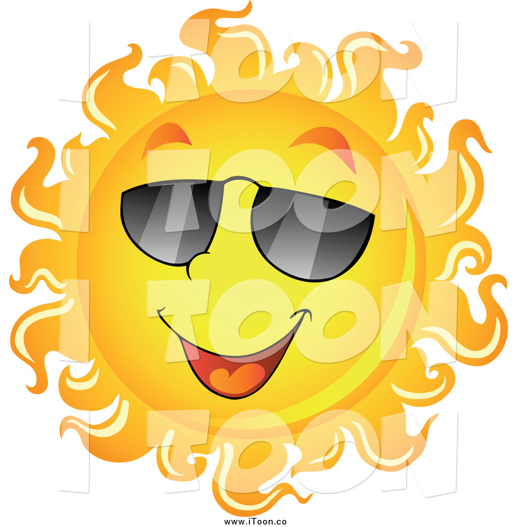 1024x1044 Royalty Free Cartoon Of A Smiling Sun With Shades By Visekart
