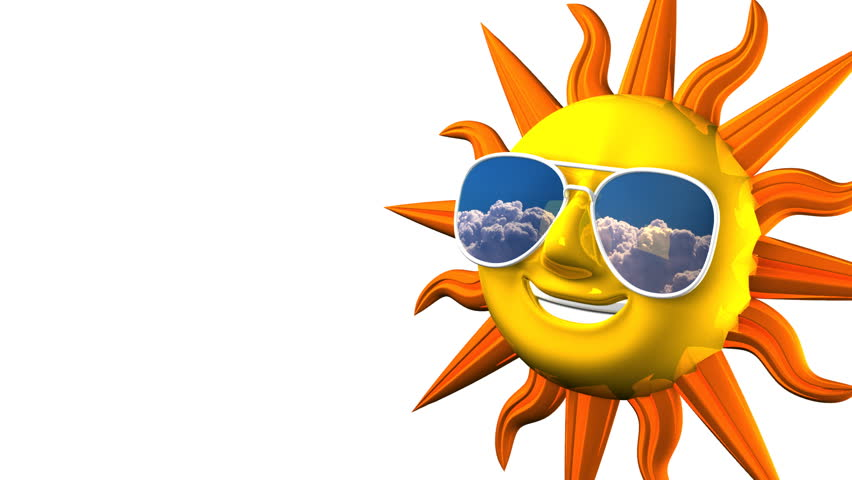 852x480 Smiling Sun With Sunglasses On White Text Space. Stock Footage