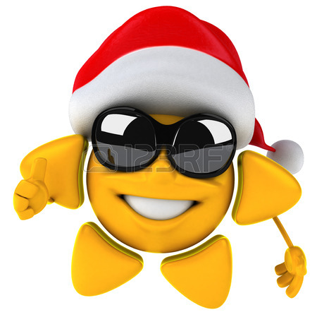 450x449 Sun Character With Shades Santa Hat Stock Photo, Picture