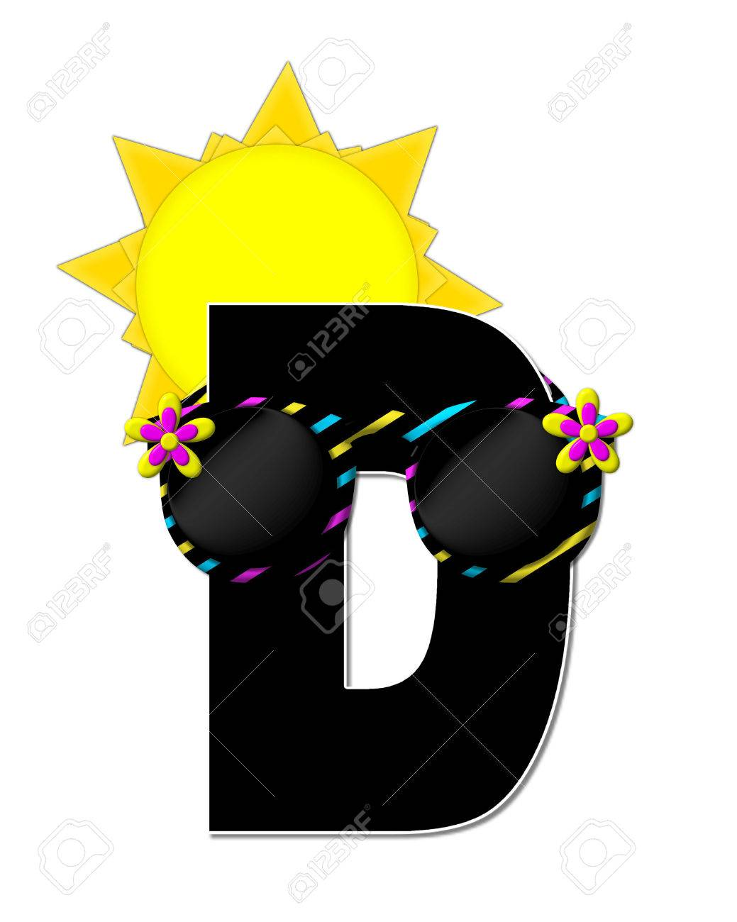 1039x1300 The Letter D, In The Alphabet Set Sun Shades, Is Black