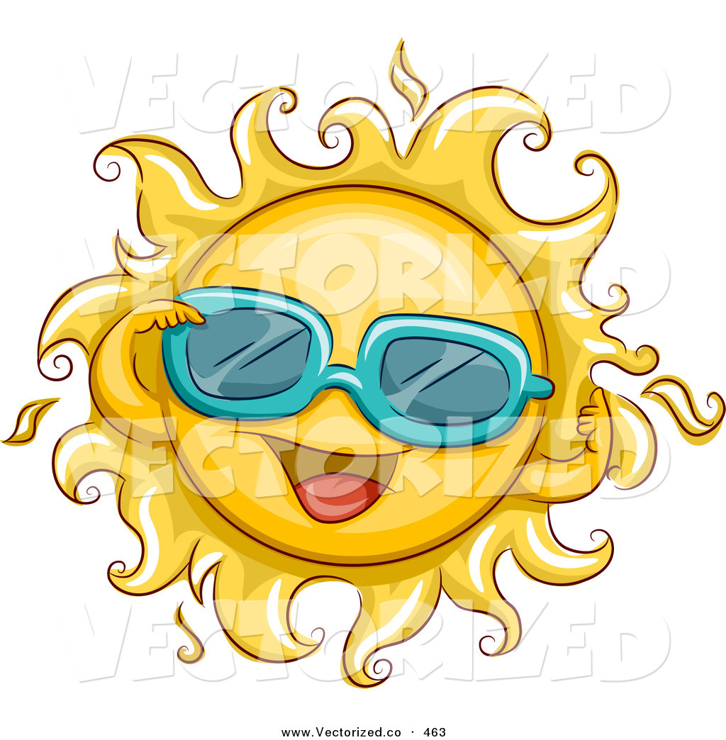 1024x1044 Vector Of A Bright Summer Sun Wearing Sunglasses By Bnp Design