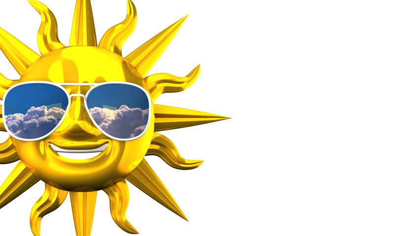 852x480 Golden Smiling Sun With Sunglasses On White Text Space. 3d Render
