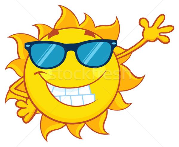 600x492 Smiling Sun Cartoon Mascot Character With Sunglasses Waving