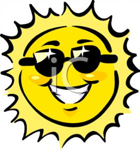 280x300 Smiling Sun Wearing Black Sunglasses Clip Art Image