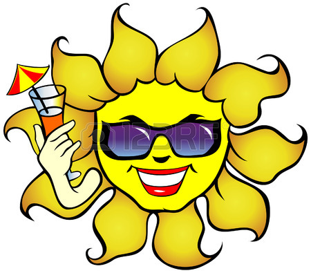 450x395 Smiling Sun With Sunglasses A Drink Royalty Free Cliparts, Vectors