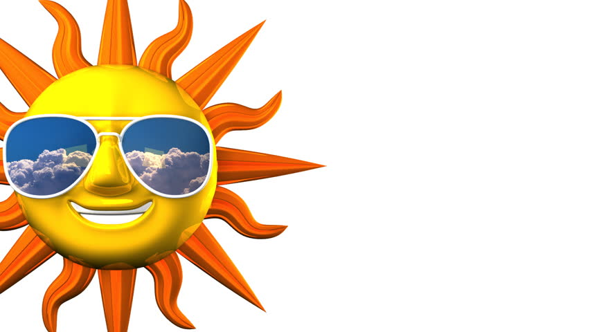 852x480 Smiling Sun With Sunglasses On White Text Space. 3d Render