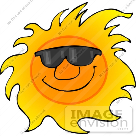 450x450 Clipart Of A Happy, Hot Sun Wearing Sunglasses