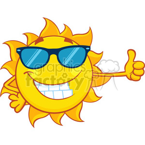 300x300 Royalty Free Smiling Sun Cartoon Mascot Character With Sunglasses
