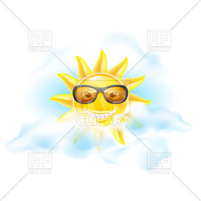 400x400 Smiling Sun With Retro Sunglasses In Clouds Royalty Free Vector