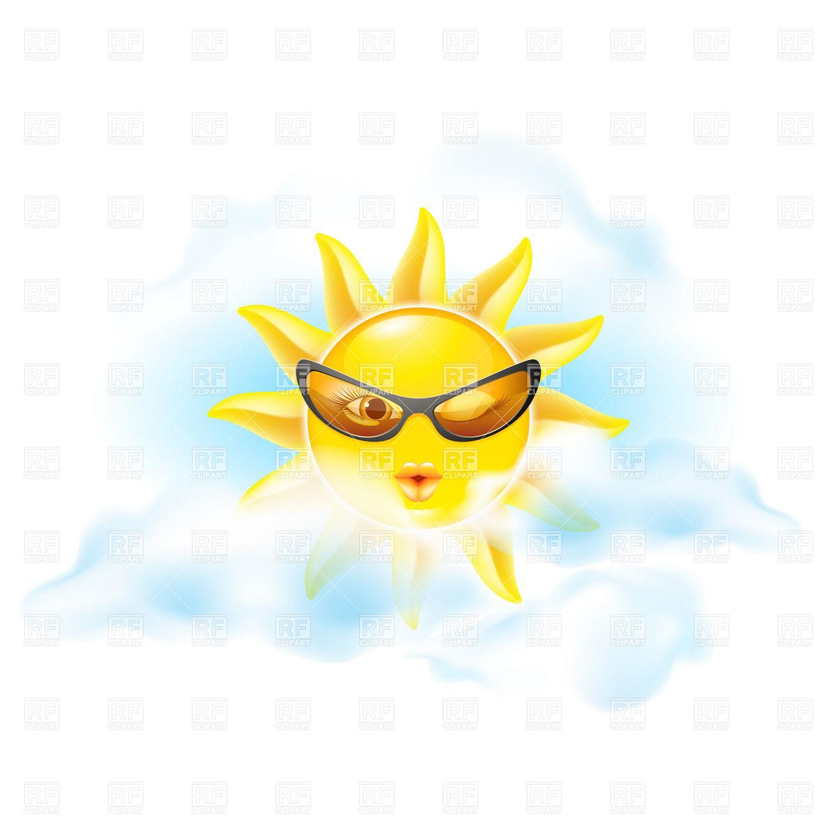 1200x1200 Winking Sun Royalty Free Vector Clip Art Image