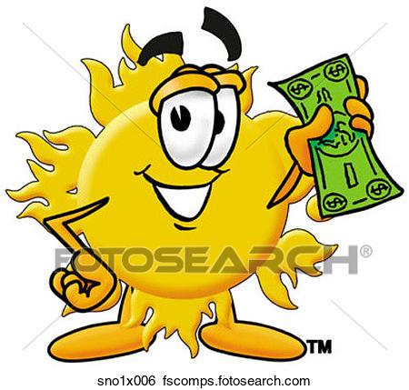 450x429 Clip Art Of Sun With Money Sno1x006