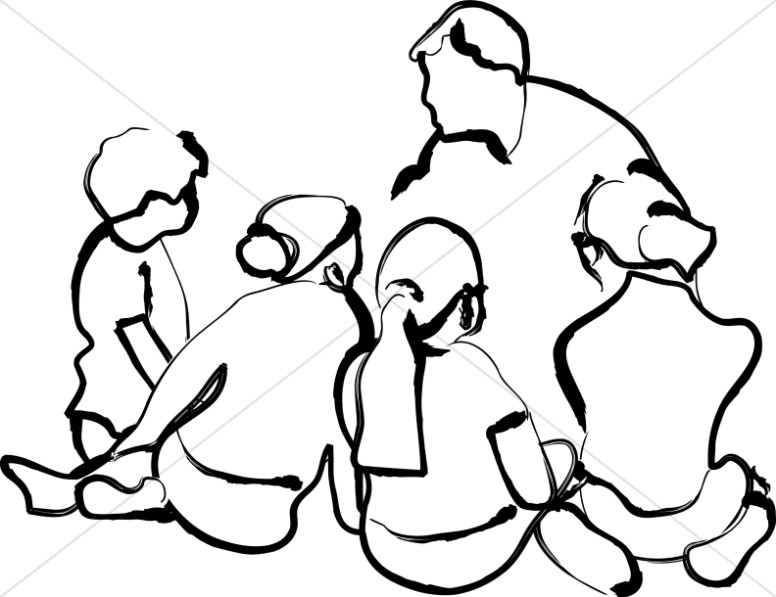 776x597 Black And White Teacher With Learning Children Sunday School Clipart