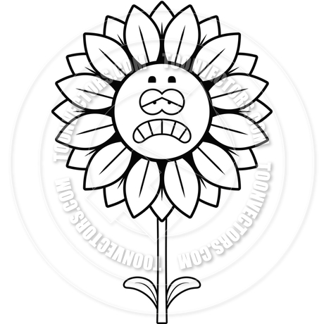 460x460 Sad Sunflower (Black And White Line Art) By Cory Thoman Toon