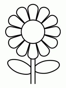 225x300 Sunflower Clipart Black And White