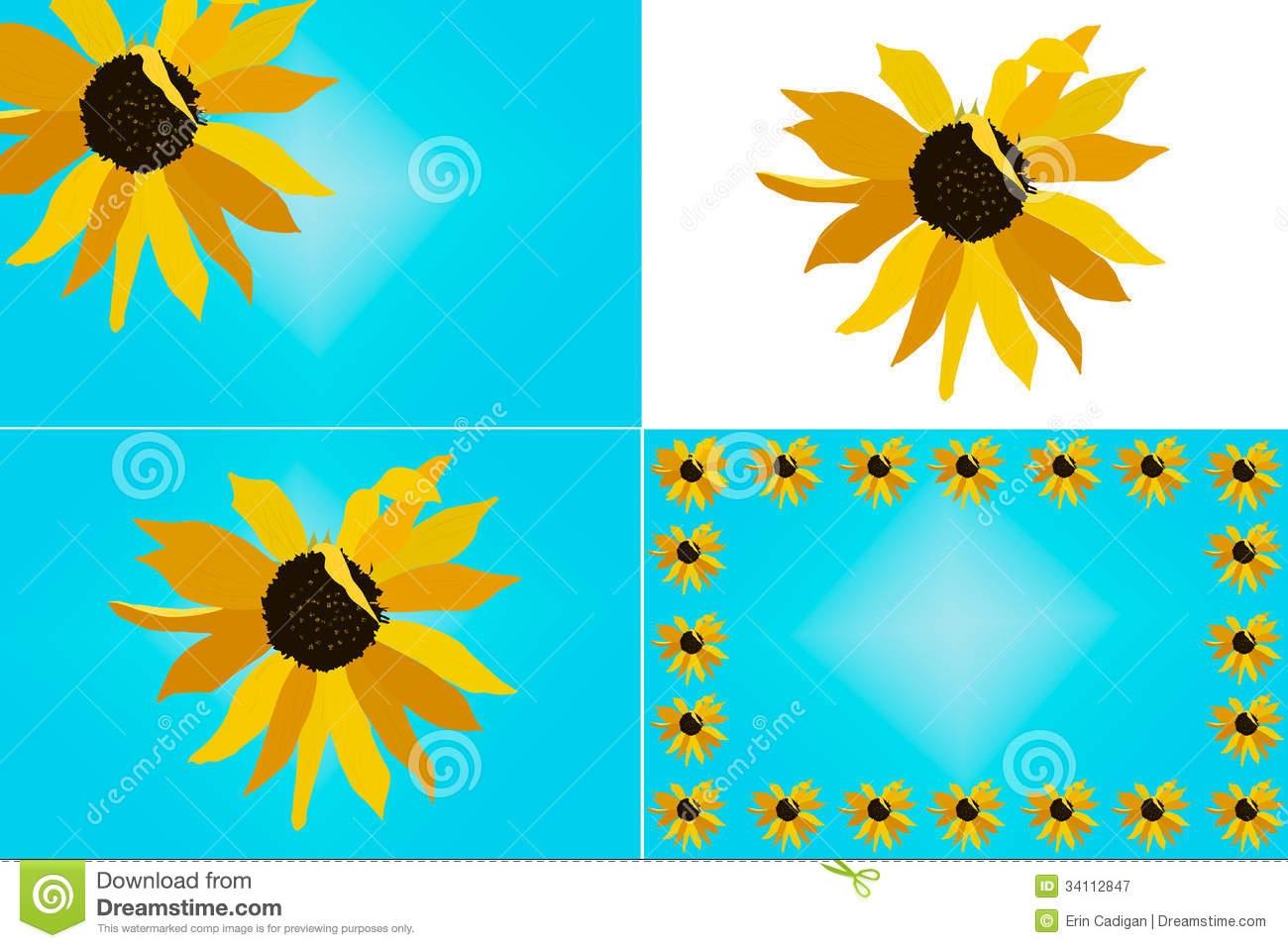 1300x957 Sunflower Border Clipart