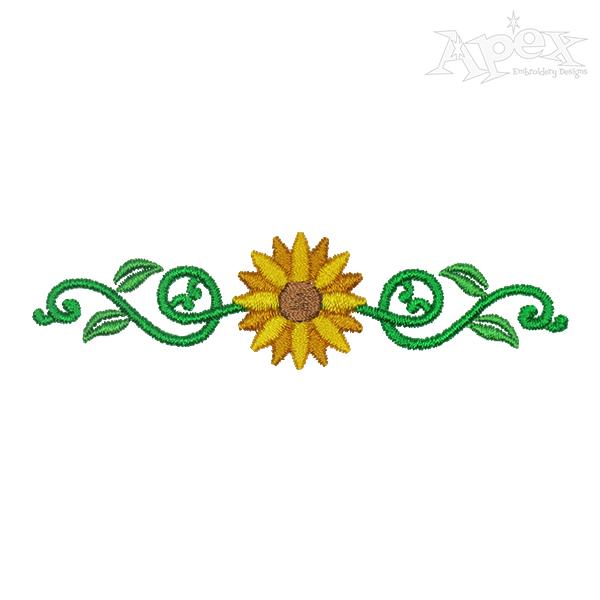 600x600 Sunflower Border Decor Embroidery Design