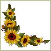 170x171 Sunflower Corner Machine Embroidery Design In Cross Stitch