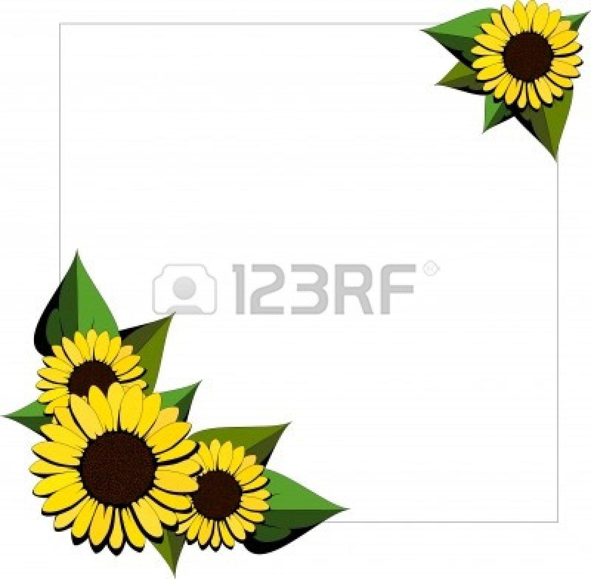 1200x1176 Sunflower Clipart Corner Border