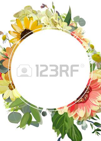 322x450 Vector Floral Design Card. Dahlia Primrose Yellow Sunflower Flower
