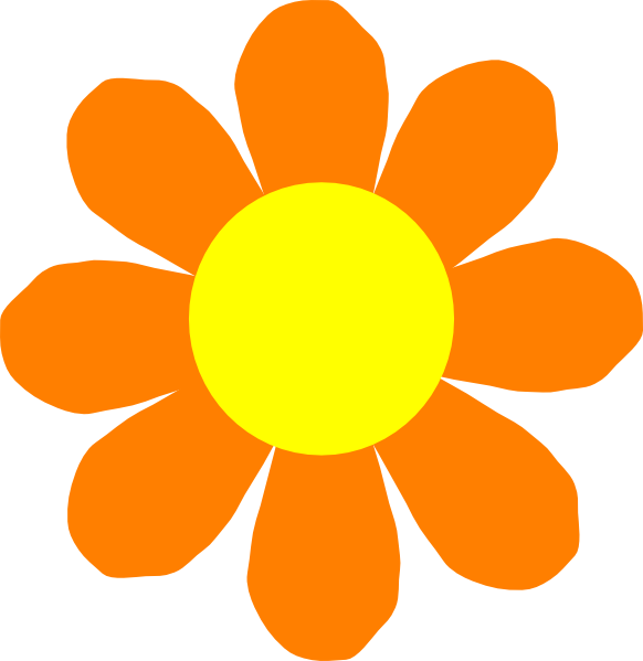 582x599 Sunflower clipart orange