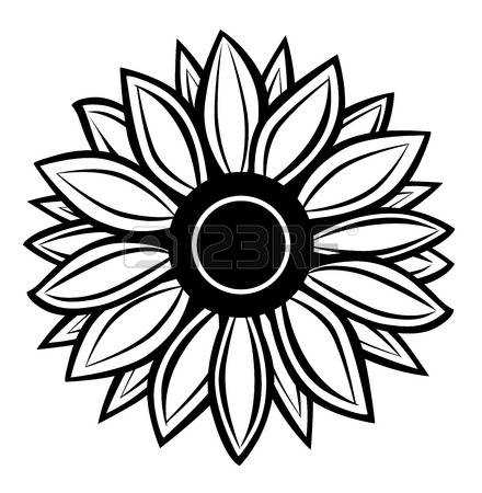440x450 Sunflower Black And White Sunflower Clip Art Black And White 3