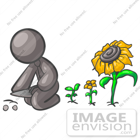 450x450 Clip Art Graphic Of A Grey Guy Character Planting Sunflower Seeds