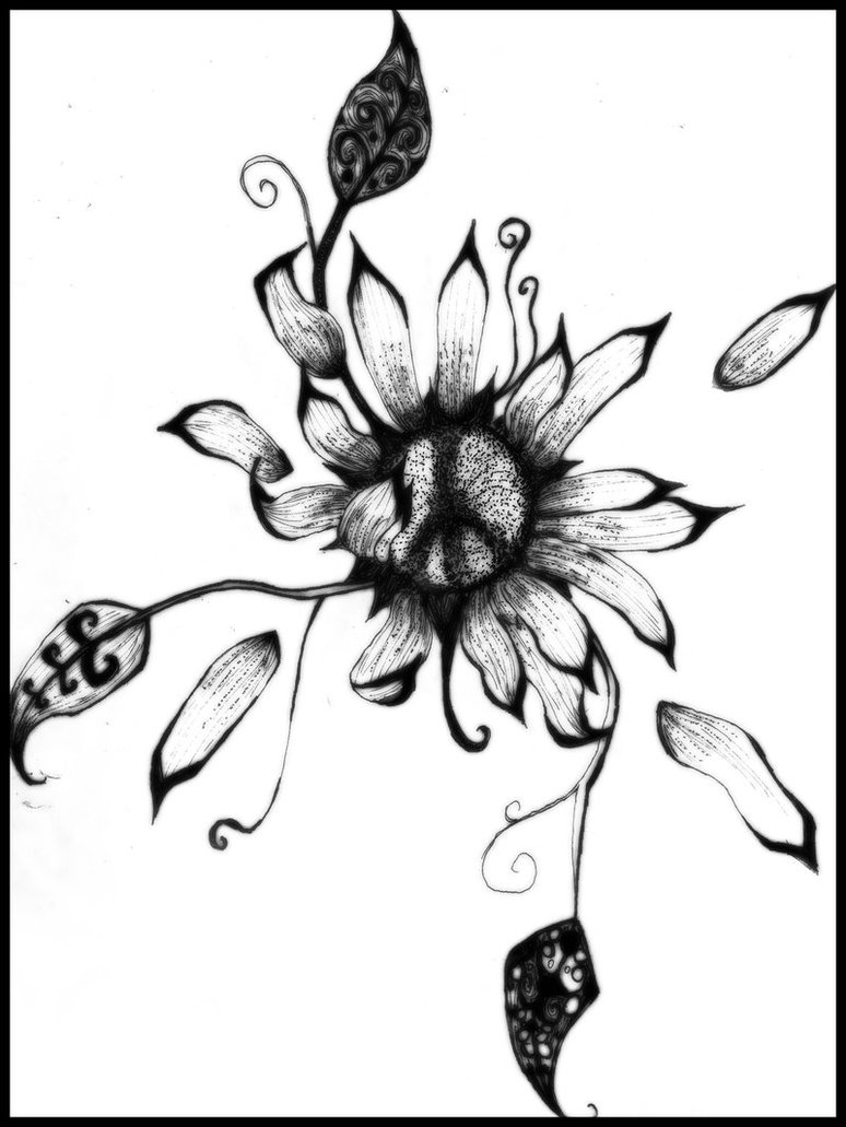 774x1031 Sunflower Drawings Peace Sunflower By ~kooohla