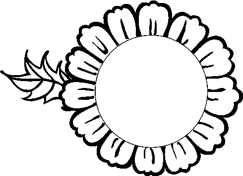 490x356 Sunflower Black And White Black And White Sunflower Border Clipart