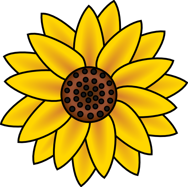 600x598 Sunflower Clip Art