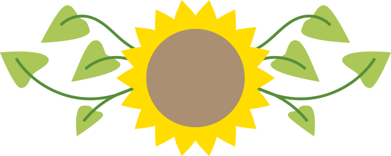 800x320 Sunflower Clipart Scene