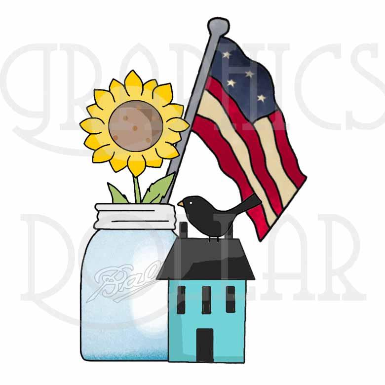 780x780 Americana Sunflowers Clip Art