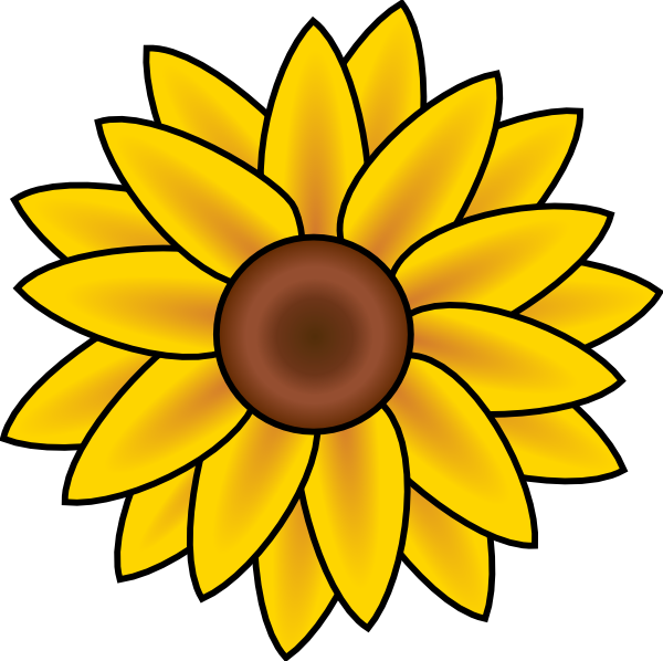 Sunflower Line Art Clipart