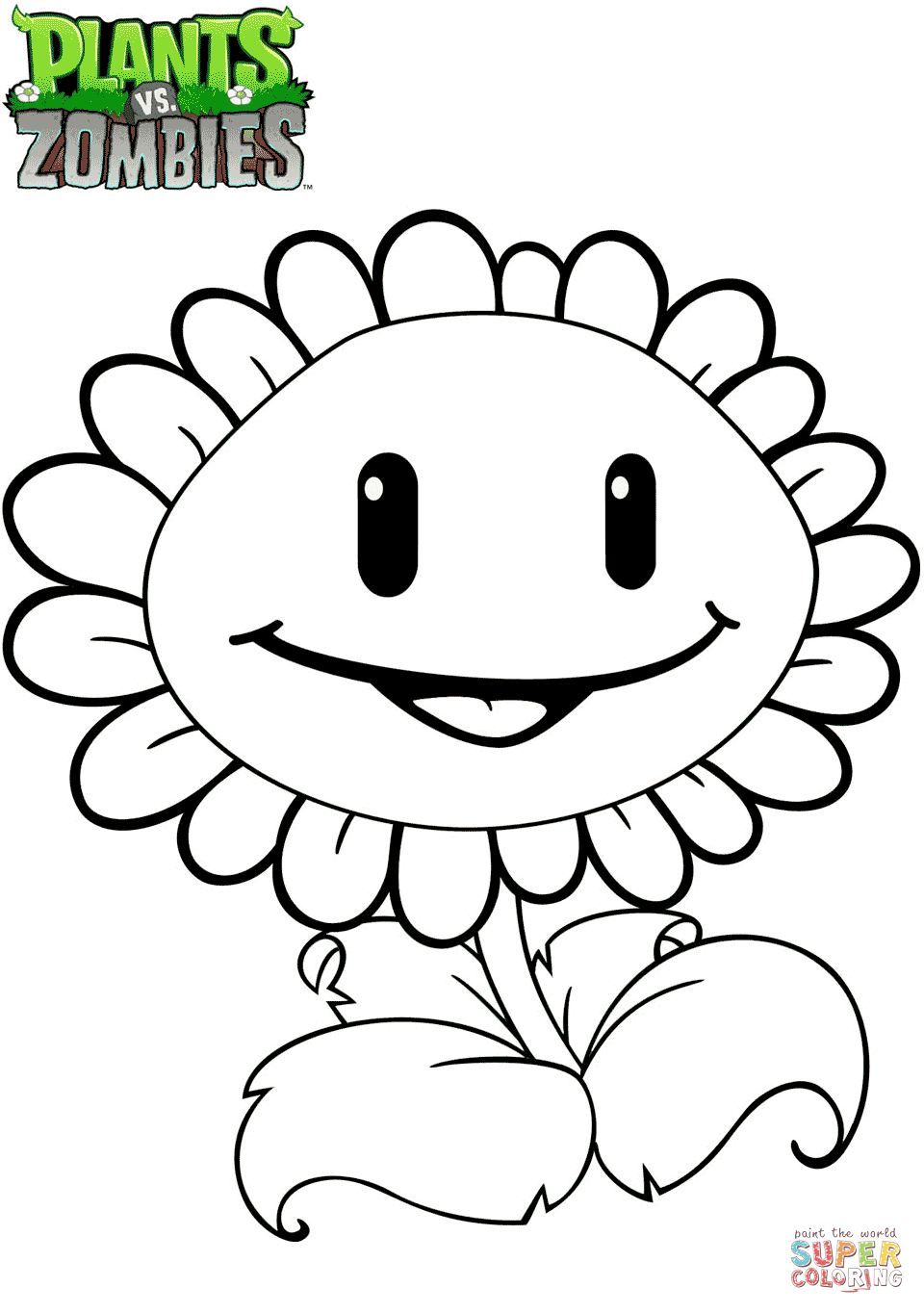 960x1364 Plants Vs. Zombies Sunflower Coloring Page Free Printable