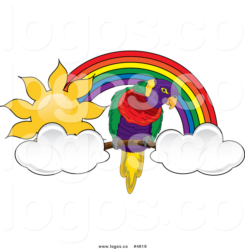 1024x1044 Royalty Free Parrot With Clouds Under A Sunny Rainbow Logo By Pams