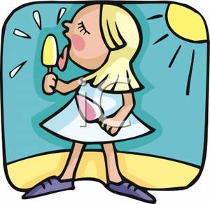 300x291 Free Clipart Image A Girl Eating Ice Cream On A Sunny Summer Day