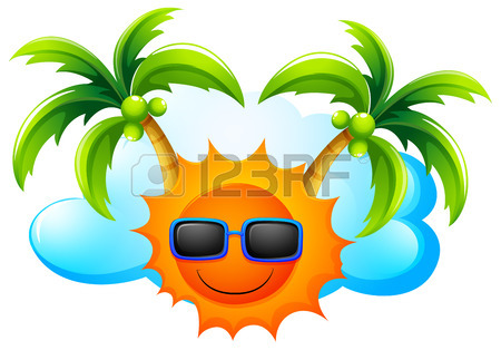 450x314 Illustration Of A Sunny Weather With Coconut Trees On A White
