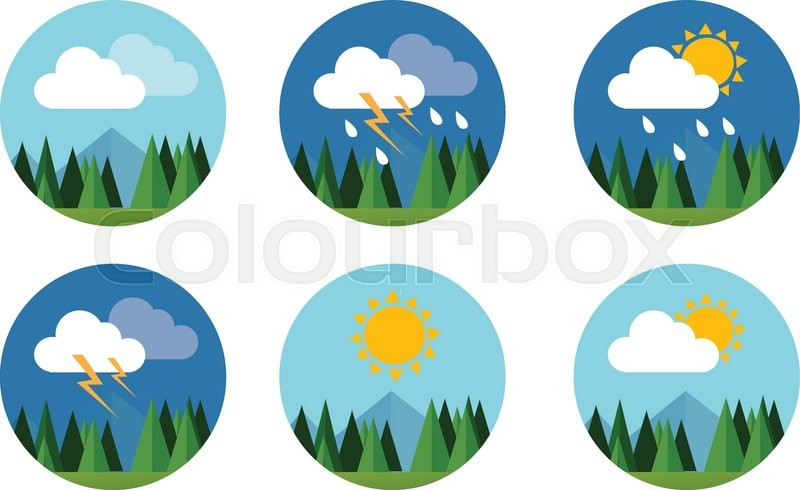 800x490 Weather Icon Set Flat Vector Forecast Sky Cloud Sunny Thunder
