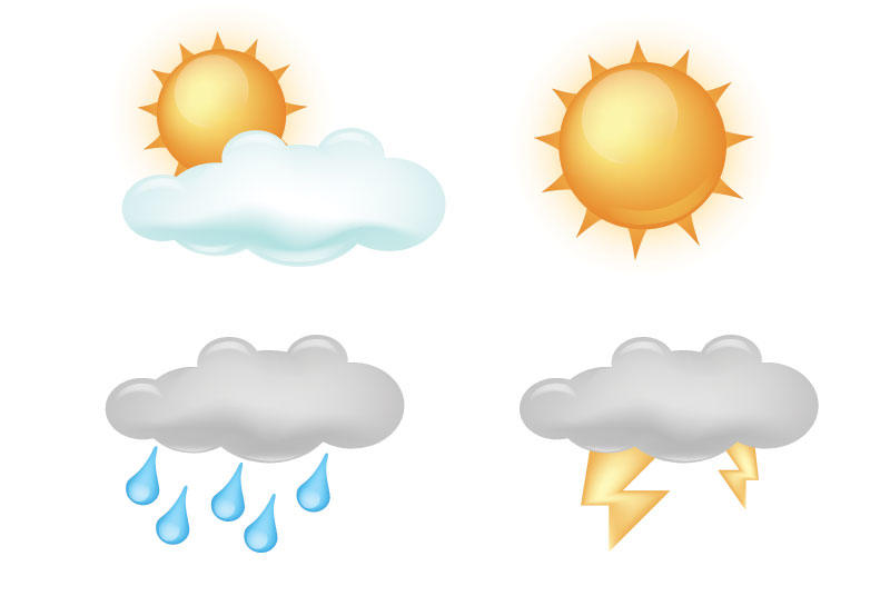 800x545 Free Sunny And Cloudy Weather Vector Icon