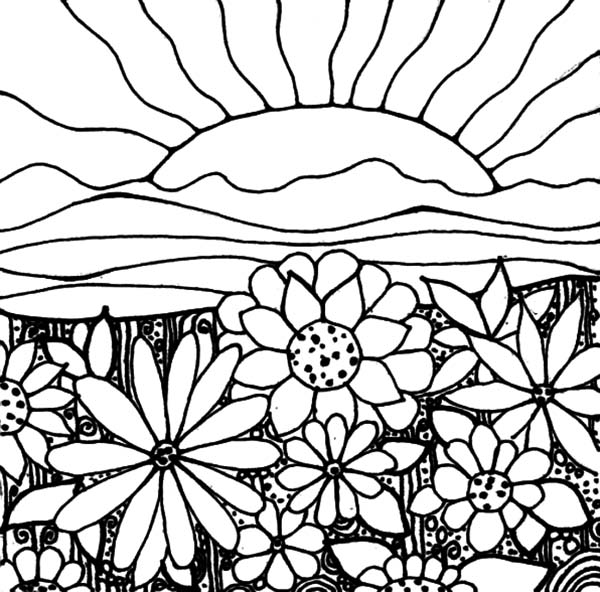 600x592 Watching Sunrise In My Garden Coloring Pages Color Luna
