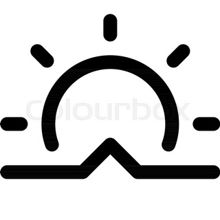 320x320 Sunrise Vector Icon. Black And White Sun Illustration. Solid
