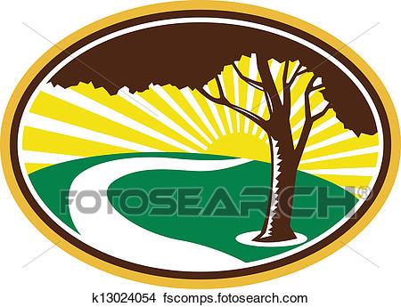 450x345 Clipart Of Pecan Tree Winding River Sunrise Retro K13024054