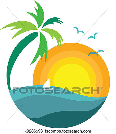 408x470 Clipart Of Palm Tree With Sunset View K9286593