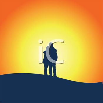 350x350 Silhouetted Couple Standing On A Hill