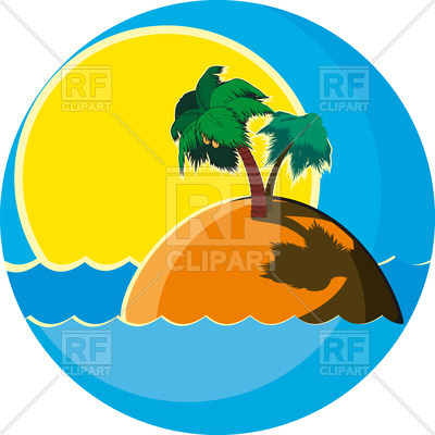 400x400 Tropical Island With Palms In The Sea Against The Sunset